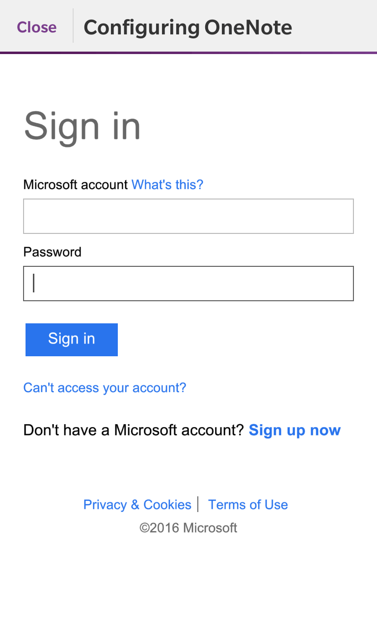 The OneNote login screen