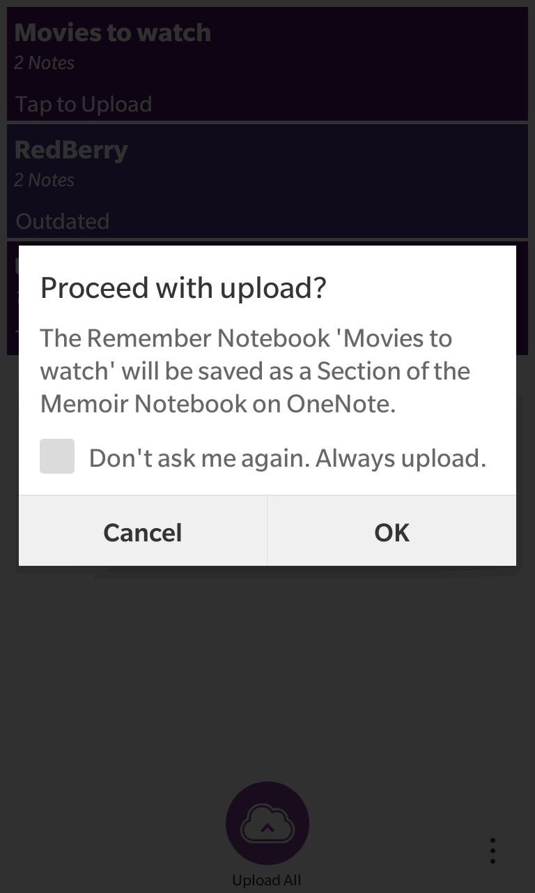 Showing Upload confirmation dialog