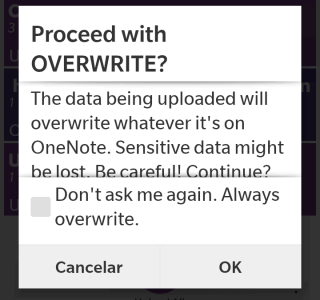 Showing OVERWRITE confirmation dialog