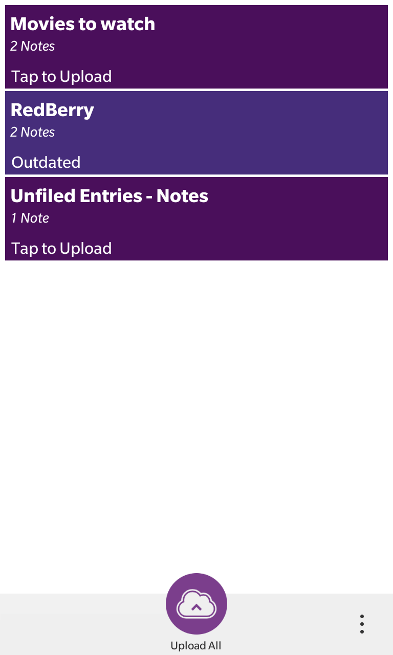 Showing a list of local Notes and Notes Folders and their status