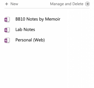 """Showing """"BB10 Notes by Memoir"""" Notebook on OneNote website"""